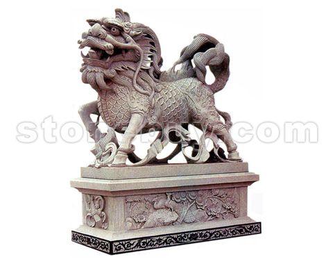 石雕蹲式麒麟精雕