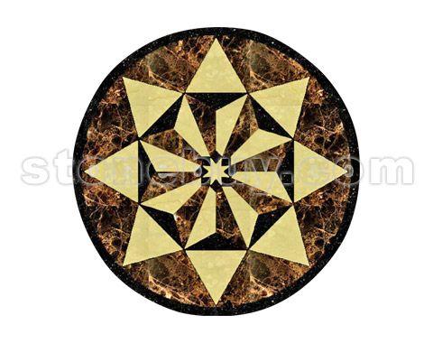 新古典风石材拼花 地板pd298 椭圆形水刀